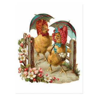Gallinas felices de Pascua Postal