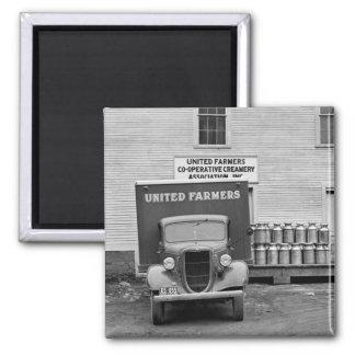 Gallinero de la lechería de Vermont, los años 30 Imán Cuadrado