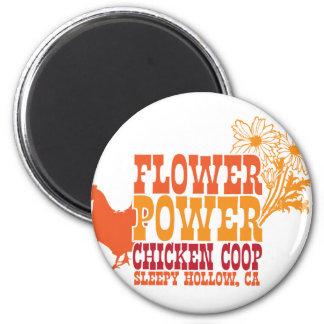 Gallinero de pollo del flower power imán para frigorifico