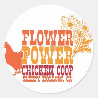 Gallinero de pollo del flower power pegatina redonda