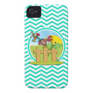 Gallo; Aguamarina Chevron verde iPhone 4 Coberturas