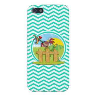 Gallo; Aguamarina Chevron verde iPhone 5 Carcasa