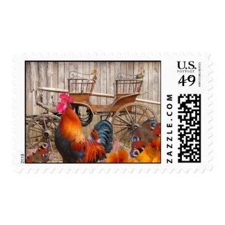 Gallo anaranjado del país y carro traído por envio