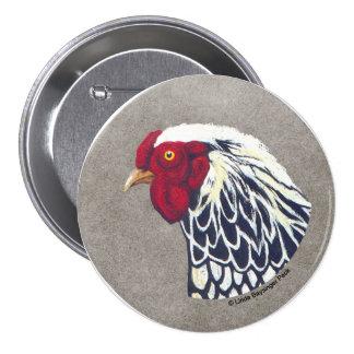 Gallo atado plata de Wyandotte Pin Redondo 7 Cm