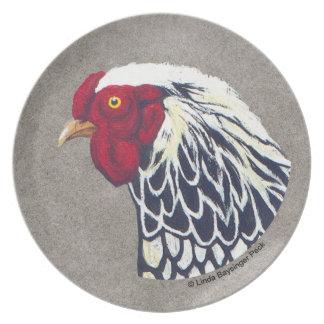Gallo atado plata de Wyandotte Plato De Comida