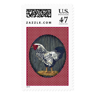 Gallo atado plata de Wyandotte Timbre Postal