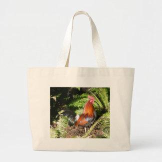 Gallo - aves de selva roja bolsa tela grande
