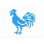 Gallo azul postal