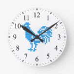 Gallo azul reloj de pared