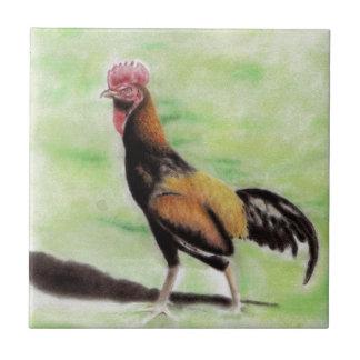 Gallo Azulejo Cuadrado Pequeño