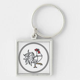 Gallo blanco - colección del cangrejo de la gamba llavero cuadrado plateado