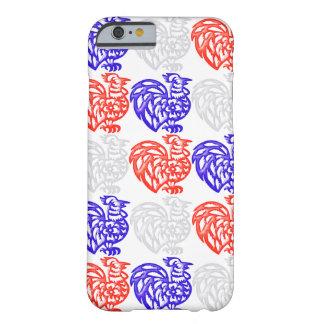 Gallo blanco y azul rojo funda de iPhone 6 barely there