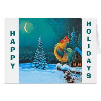gallo, buenas fiestas tarjeta de felicitación