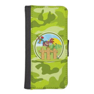 Gallo; camo verde claro, camuflaje fundas tipo cartera para iPhone 5