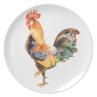 Gallo coloreado vibrante plato de cena