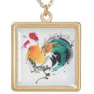 Gallo colorido. Caligrafía y watercolor. Pendientes Personalizados