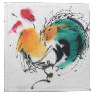Gallo colorido Caligrafía y watercolor Servilletas