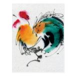 Gallo colorido. Caligrafía y watercolor. Tarjetas Postales