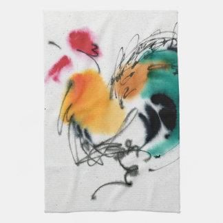 Gallo colorido. Caligrafía y watercolor. Toalla De Mano