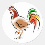 Gallo colorido etiqueta