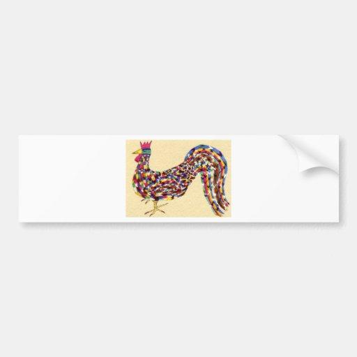 Gallo colorido etiqueta de parachoque