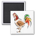 Gallo colorido imán para frigorífico