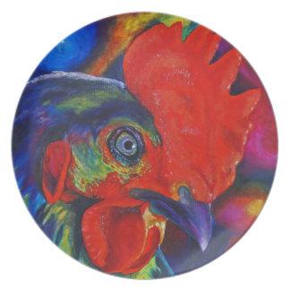 Gallo colorido plato de cena
