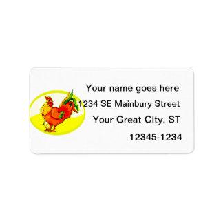 gallo con el amarillo oval.png del polluelo etiquetas de dirección