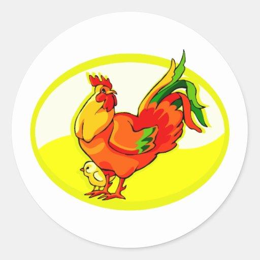gallo con el amarillo oval.png del polluelo etiqueta