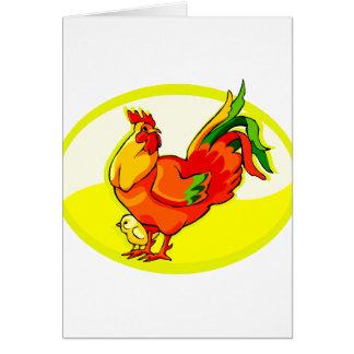 gallo con el amarillo oval.png del polluelo tarjeta pequeña