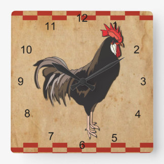 Gallo con una frontera a cuadros roja reloj cuadrado