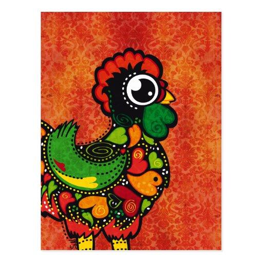 Gallo de Barcelos - fondo del vintage Postal