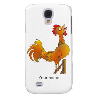Gallo de cacareo del gallo del dibujo animado funda para galaxy s4