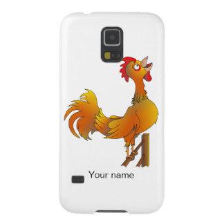 Gallo de cacareo del gallo del dibujo animado fundas de galaxy s5