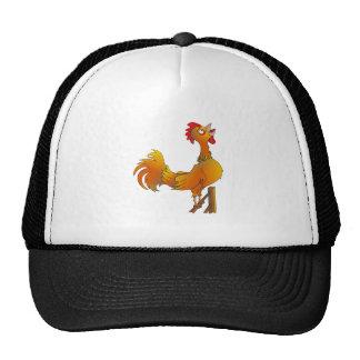 Gallo de cacareo del gallo del dibujo animado gorro