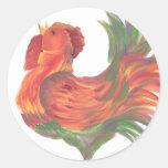Gallo de cacareo del país colorido etiqueta redonda