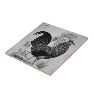 Gallo de la acción de gracias en monocromo azulejo cuadrado pequeño