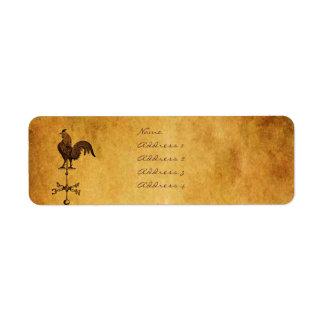 Gallo de la acción de gracias etiqueta de remite