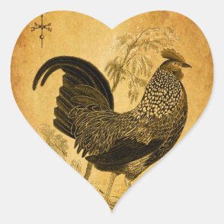 Gallo de la acción de gracias pegatina en forma de corazón