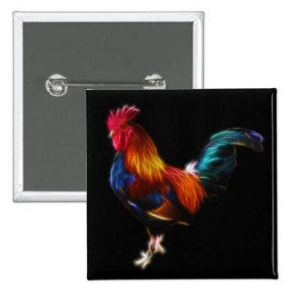 Gallo de la Leghorn de Fractalius Pin Cuadrada 5 Cm