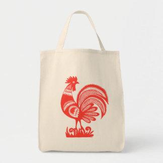 gallo de los años 50 bolsa tela para la compra