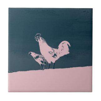 Gallo de medianoche azulejo cuadrado pequeño