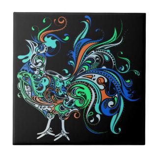 Gallo de neón azulejo cuadrado pequeño