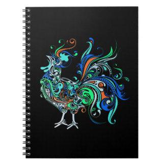 Gallo de neón salvaje libros de apuntes con espiral
