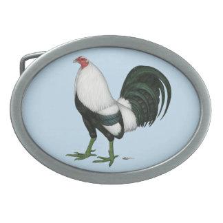 Gallo de pelea Duckwing de plata Hebilla De Cinturon Oval