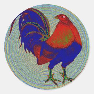 Gallo de pelea:  Gallo impresionista Pegatina Redonda
