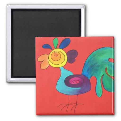 Gallo del arco iris imanes para frigoríficos