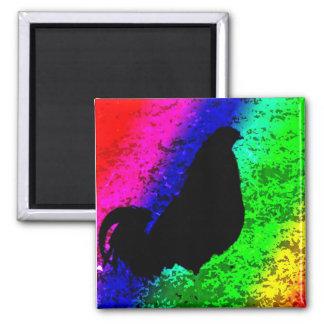Gallo del arco iris imán cuadrado