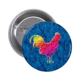 Gallo del arco iris pin redondo 5 cm