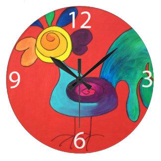 Gallo del arco iris reloj redondo grande